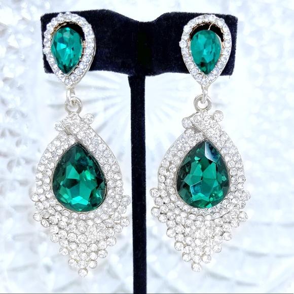 Prom Pageant Bridal Jewelry - Emerald Green Crystal Rhinestone Formal Earrings